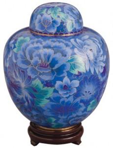 Azure Blue Cloisonne Pet Urn