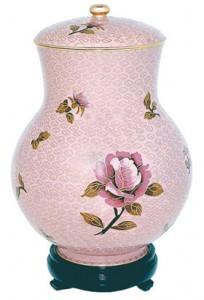 Dusty Rose Cloisonne pet urn