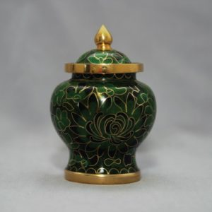 Forest Green Cloisonne Pet Urn